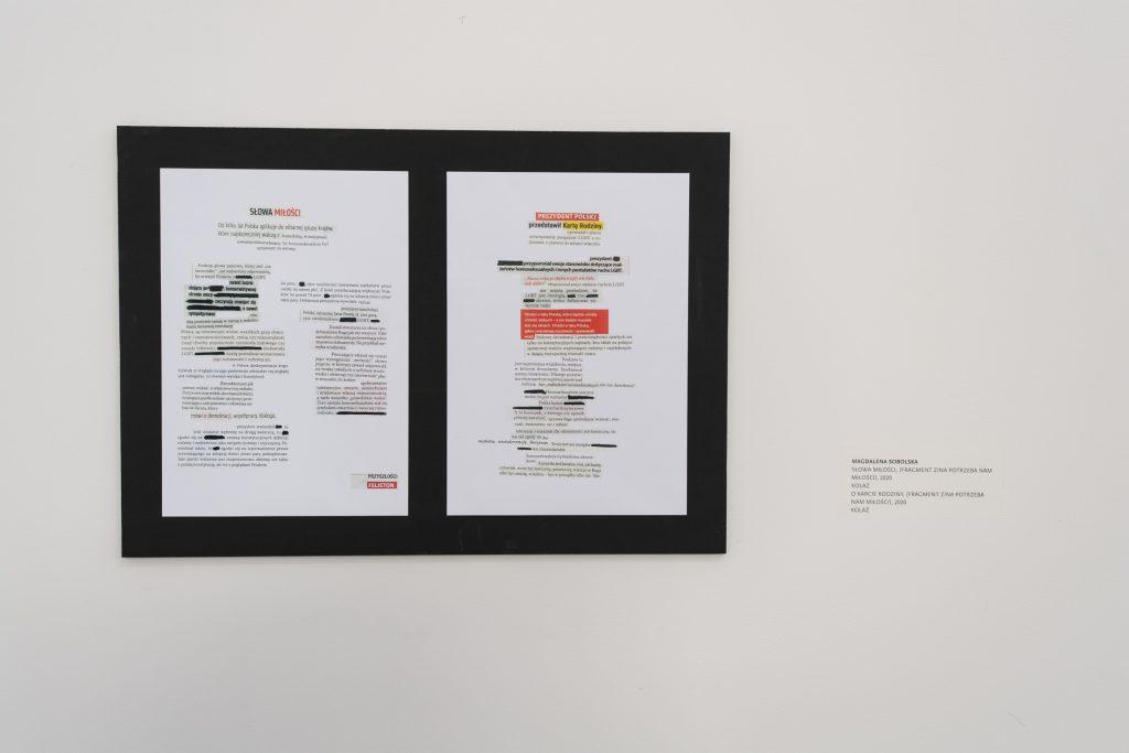 Dwie duże białe kartki zprzyklejonymi tytułami, lidami ifragmentami nienawistnych artykułów dotyczących osób nieheteronormatywnych